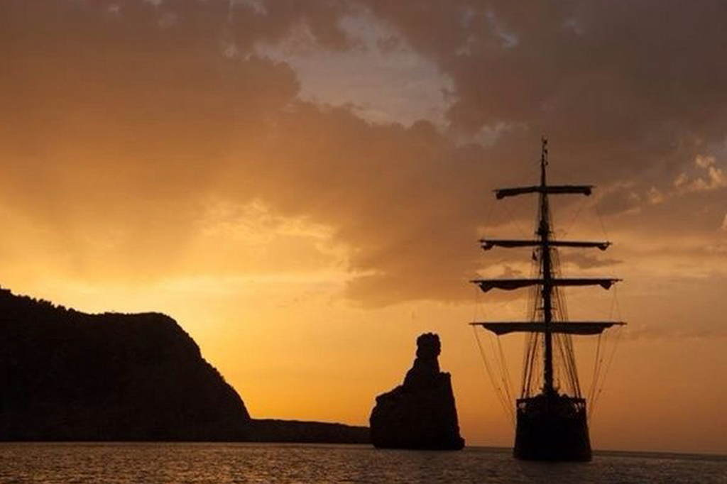 Sunset on Tall Ship Atlantis