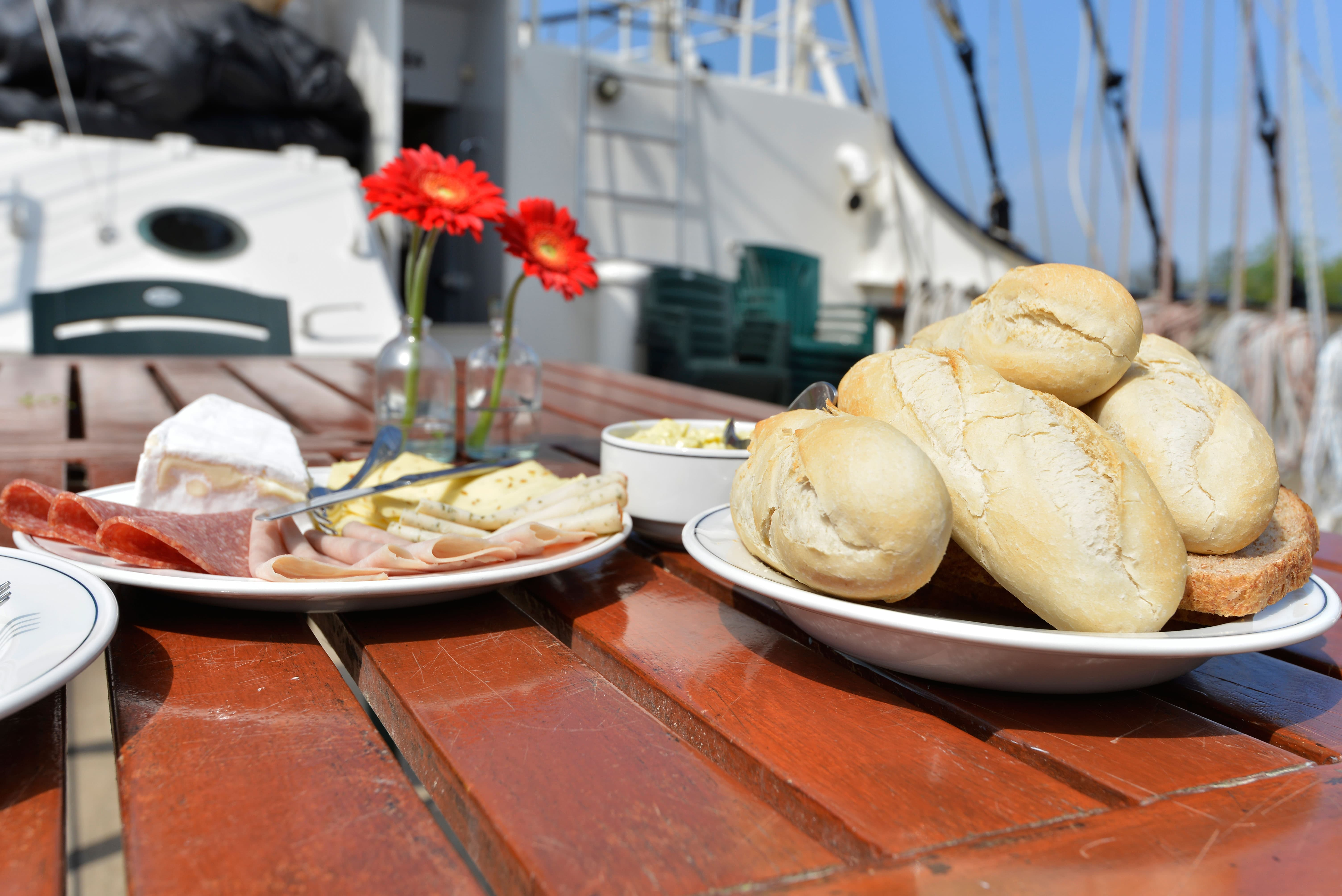 Breakfast on the sailing vessel Antigua