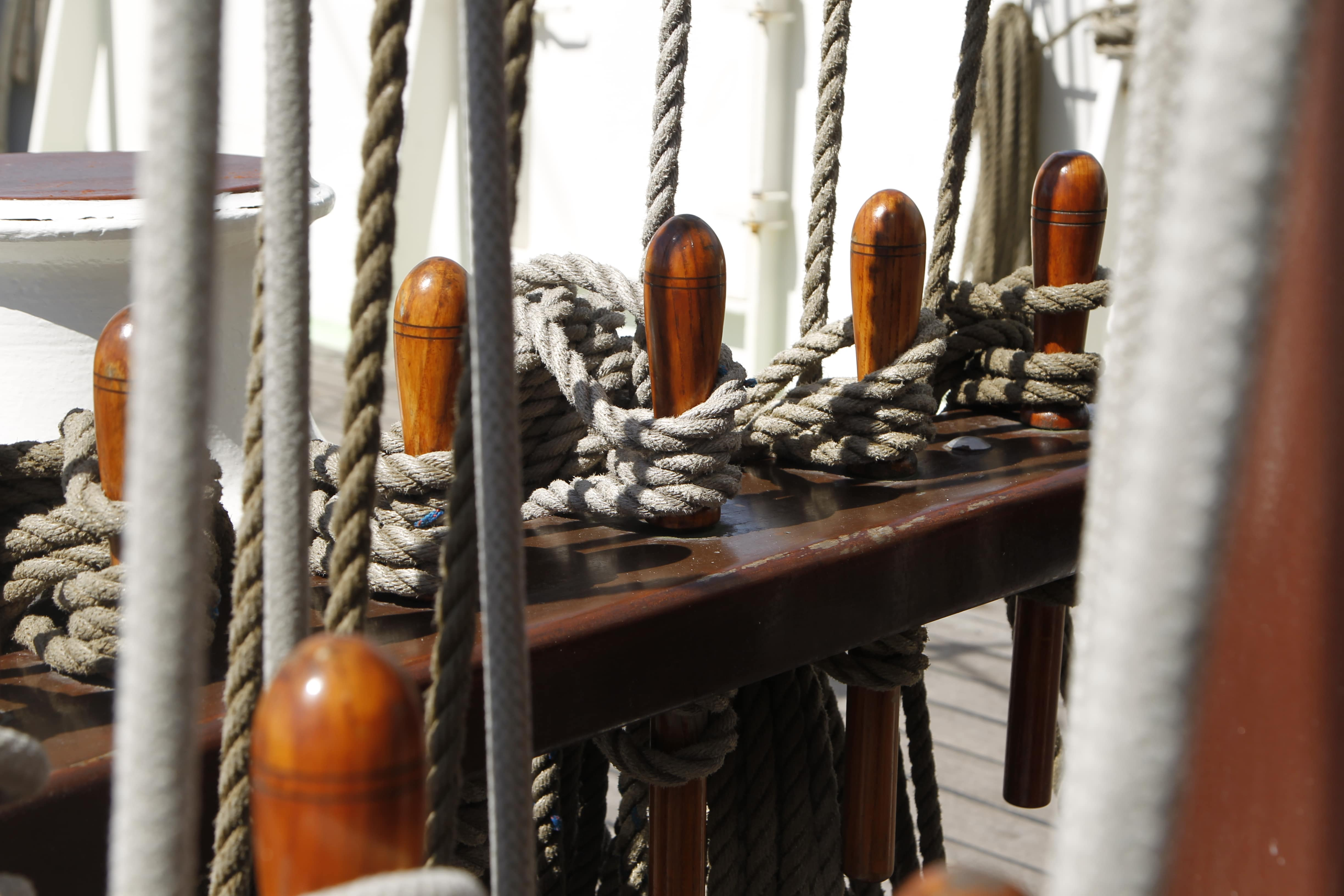 The pin rack of tall ship Artemis