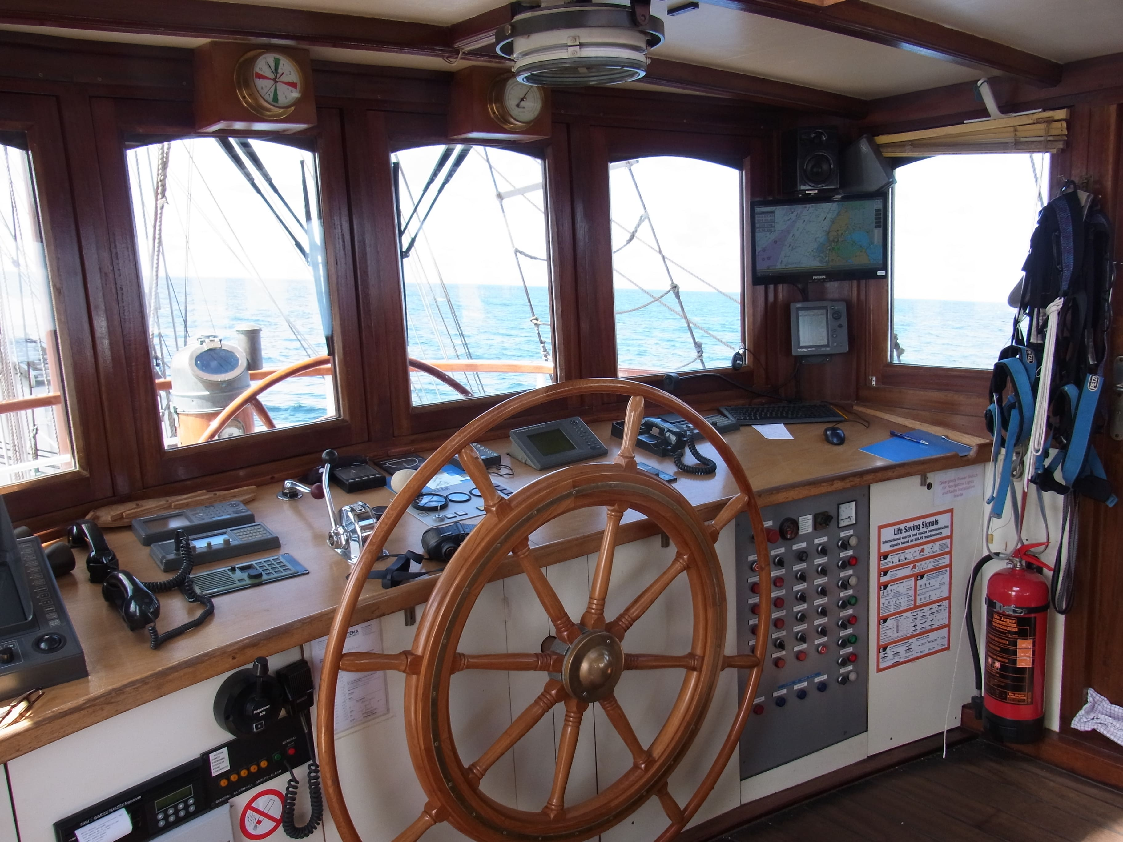 The wheelhouse of tall ship Artemis